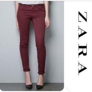 🆕️🎯ZARA Trafaluc EUC Burgundy Slim Skinny Jeans